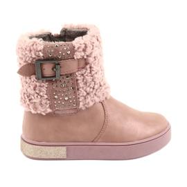 American Club Støvler med pels på lynlåsen pink