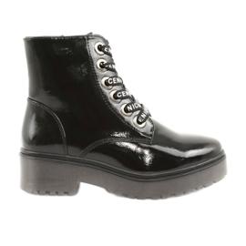 Sergio Leone 726 lakkerede snørestøvler sort