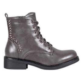 SHELOVET Støvler med rhinestones grå