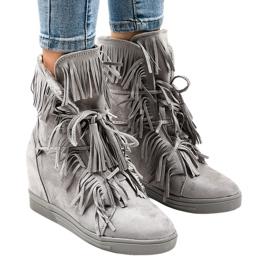Grå kile sneakers med frynser H6600-36