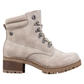 Goodin Beige støvler med fåreskind brun