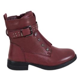 J. Star Bourgogne støvler med elastisk bånd rød