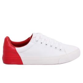 Hvide og røde kvinders sneakers A88-29 W-RED II Type