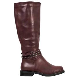 SHELOVET Bourgogne støvler med cubic zirconia rød