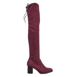 SHELOVET Suede Støvler Over Knæ rød