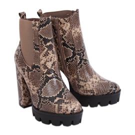 Støvler på DA31P Khaki Snake slange platform brun