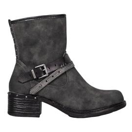SHELOVET Høje støvler med spænde grå