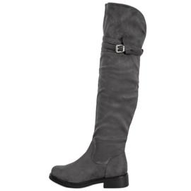 Ideal Shoes Elegante lårhøje støvler med spænde grå