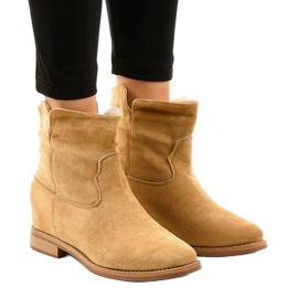 NC981 beige flade cowboy støvler brun