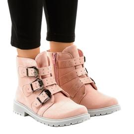 Pink ruskind fladstøvler med TL95-4 spænder
