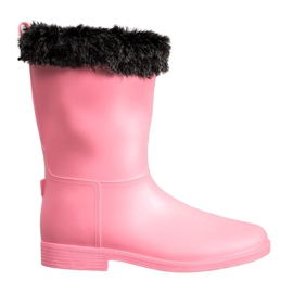 SHELOVET Wellingtons With Fur pink