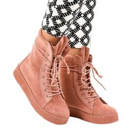 Pink ruskind flade støvler 7-3727B
