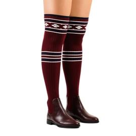 Lårhøj støvle maroon sokk 29-7 rød