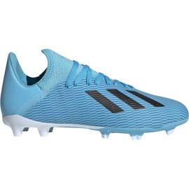 Adidas X 19.3 Fg Jr F35366 fodboldsko blå hvid, sort, blå