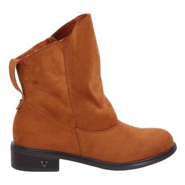 Støvler med en krøllet øverste kamel 6672-kamel brun