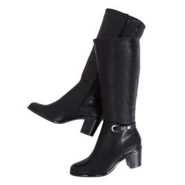 Klassiske sorte høje hæle støvler BM-9090 Sort