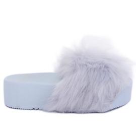 Grå hjemmesko med pelsgrå CK77P Grå II kvalitet