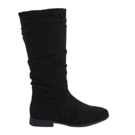 Sorte støvler på flade hæle M629 Sort