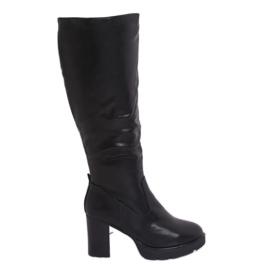 Sort isolerede høje hæle støvler Q600-04 Sort