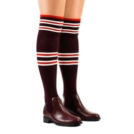 Bourgogne lårstøvler sokkel FD-69 rød