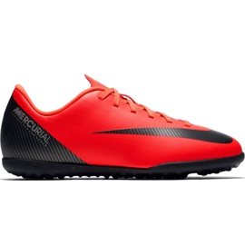 Nike Mercurial Vapor X 12 Club Gs CR7 Tf Jr AJ3106 600 fodboldsko rød
