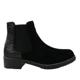Sorte fladstøvler i sort ruskind med en stjerne SHN2221