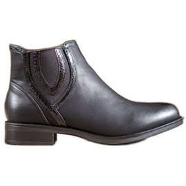 Small Swan Sorte støvler med Eco-læder