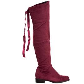 SHELOVET Ruskindstøvler med indbinding rød