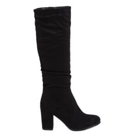 Klassiske sorte høje hæle støvler 750-05 Sort