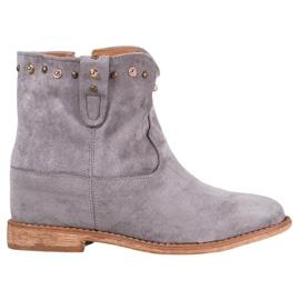 Bella Paris Ruskind cowboy-støvler med rhinestones grå