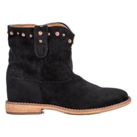Bella Paris Ruskind cowboy-støvler med rhinestones sort