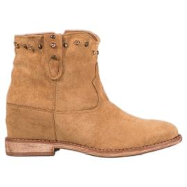 Bella Paris Ruskind cowboy-støvler med rhinestones brun