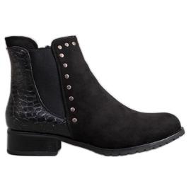 SHELOVET Moderigtige sort ankel støvler