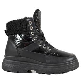 Bella Paris Sneakers med fåreskind sort