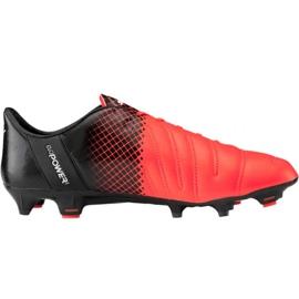 Puma evoPOWER 1.3 Lth Fg M 103850 01 fodboldsko sort, orange appelsin