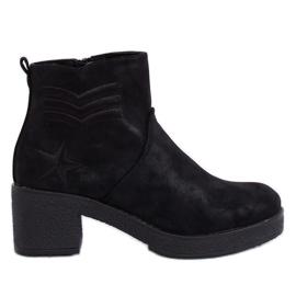 Sort højhælede støvler sort K1822701 neger