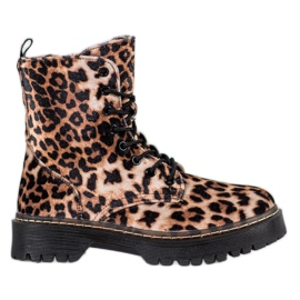 SHELOVET Suede Workers Leopard Print brun