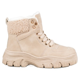 GOLL Varme sneakers med fåreskind brun
