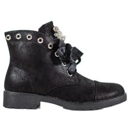 Bella Paris Støvler med en dekorativ bue sort