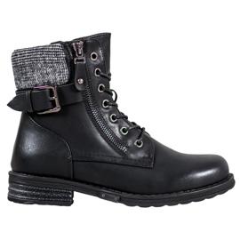 J. Star Snørestøvler lavet af øko læder sort