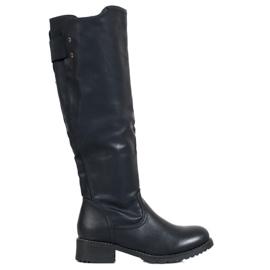 SHELOVET Klassiske Eco læder støvler sort
