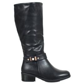 SHELOVET Elegante læderstøvler sort