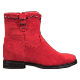 Ideal Shoes Varme cowboy-støvler med rhinestones rød