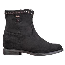 Ideal Shoes Varme cowboy-støvler med rhinestones sort