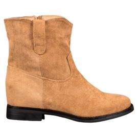 Ideal Shoes Varme cowboy-støvler på kile brun