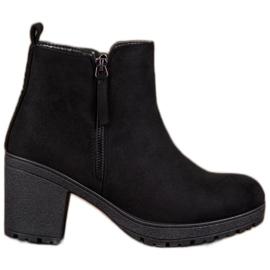 SHELOVET Komfortable ankelstøvler i platformen sort