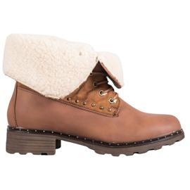 SHELOVET Brun støvler med fåreskind