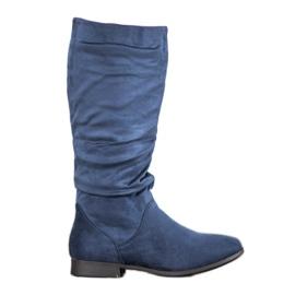 SHELOVET Ruskindstøvler over knæet blå