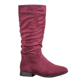 SHELOVET Ruskindstøvler over knæet rød