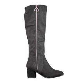 SHELOVET Støvler med dekorativ glider sort